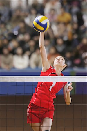 spike - Volleyball Players in Intense Moment Stock Photo - Rights-Managed, Code: 858-03046887