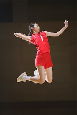 spike - Volleyball Player Striking Mid-Air Stock Photo - Rights-Managed, Code: 858-03046890