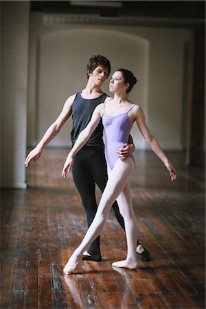 Teenager ballet dancers practicing together in a room Stock Photo - Rights-Managed, Code: 858-03049461