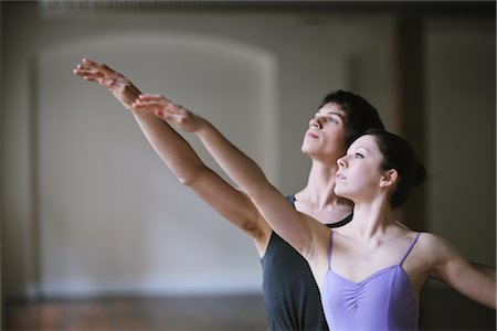 Teenager ballet dancers practicing together Stock Photo - Rights-Managed, Code: 858-03049462