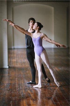 Teenager ballet dancers practicing together Stock Photo - Rights-Managed, Code: 858-03049463
