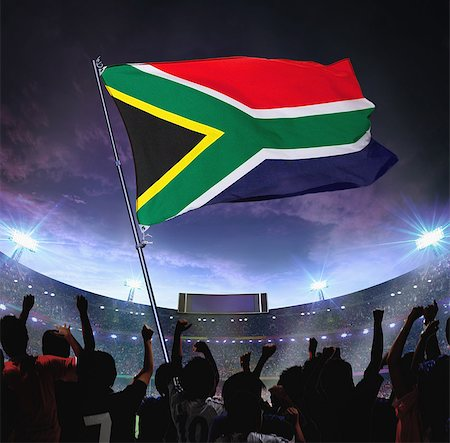 soccer fan - Soccer supports waving a South African Flag Stock Photo - Rights-Managed, Code: 858-03474766