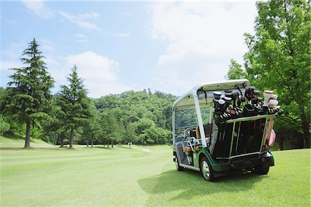 Golf Cart On Golf Course Stock Photo - Rights-Managed, Code: 858-03694317