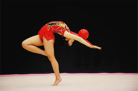 Japanese woman performing rhythmic gymnastics with ball Stock Photo - Rights-Managed, Code: 858-03799632