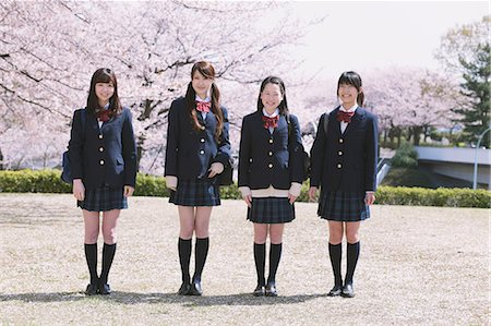 school girl uniforms - Cherry Blossoms And High School Girls Stock Photo - Rights-Managed, Code: 859-06380212