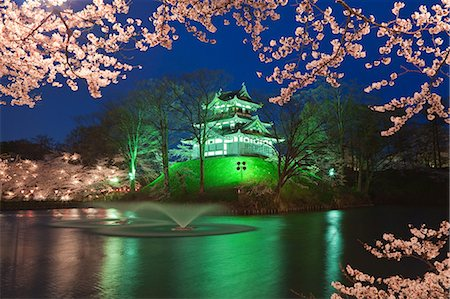 Yozakura,Takada Castle, Niigata Prefecture, Japan Stock Photo - Rights-Managed, Code: 859-06380267