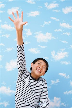 Boy Raising a Hand Stock Photo - Rights-Managed, Code: 859-06617336