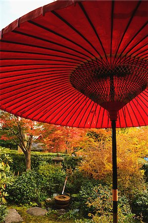 Red paper parasol at Showa Kinen Park, Tokyo Stock Photo - Rights-Managed, Code: 859-06710981