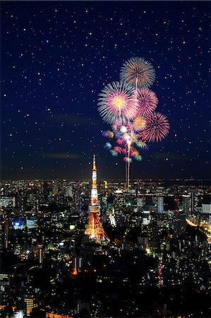 fireworks colored picture - Tokyo illustration Stock Photo - Rights-Managed, Code: 859-07356353