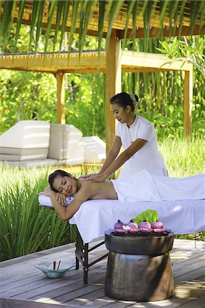 sleeping nude - Woman Enjoying Massage in Exotic Resort Stock Photo - Rights-Managed, Code: 859-07495109