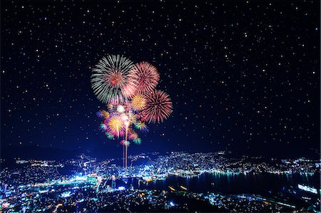 fireworks colored picture - Tokyo illustration Stock Photo - Rights-Managed, Code: 859-07495387