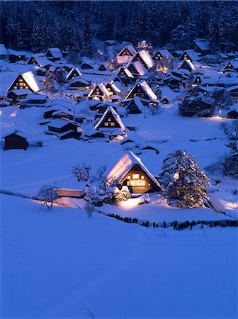 small town snow - Gifu Prefecture, Japan Stock Photo - Rights-Managed, Code: 859-07783274