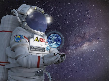 energia - CG astronaut in space Fotografie stock - Rights-Managed, Codice: 859-08384623