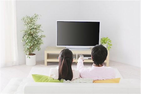 plasma - Japanese Couple Watching TV Stock Photo - Rights-Managed, Code: 859-03599847