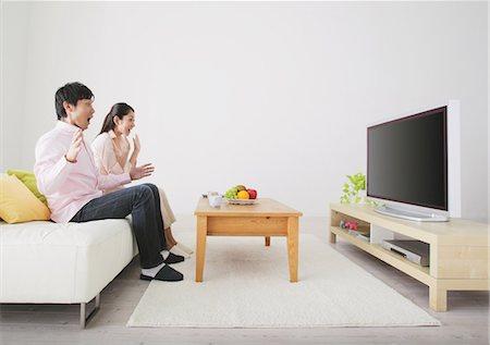 plasma - Japanese Couple Watching TV Stock Photo - Rights-Managed, Code: 859-03599842
