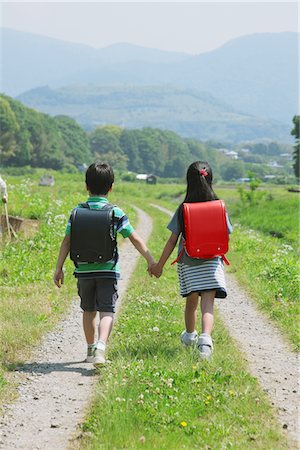 School Friends Passing Through Rural Path Stock Photo - Rights-Managed, Code: 859-03755136