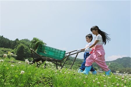 Kids Moving Wheelbarrow In Garden Stock Photo - Rights-Managed, Code: 859-03755173