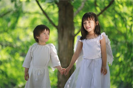Angels Standing Together Holding Hands Stock Photo - Rights-Managed, Code: 859-03781913