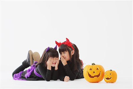 Two Girl Dressed In Halloween Costume Stock Photo - Rights-Managed, Code: 859-03806304