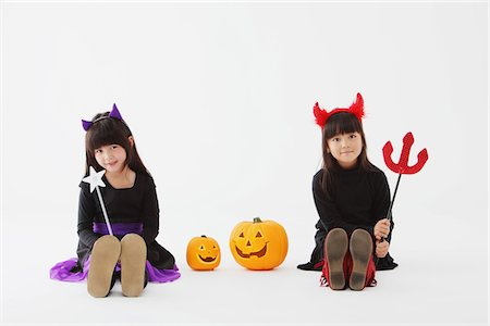 Two Girl Dressed In Halloween Costume Stock Photo - Rights-Managed, Code: 859-03806301