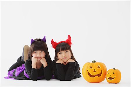 Two Girl Dressed In Halloween Costume Stock Photo - Rights-Managed, Code: 859-03806303