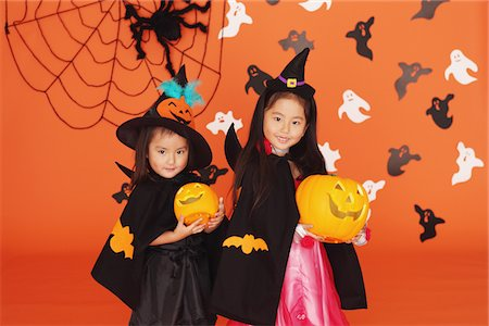 Two Girls in Costume for Halloween Stock Photo - Rights-Managed, Code: 859-03806349