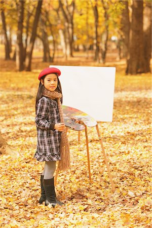 Girl Painting In Autumn Foliage Stock Photo - Rights-Managed, Code: 859-03839372