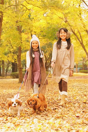 Girls With Their Dogs In Autumn Foliage Stock Photo - Rights-Managed, Code: 859-03839388