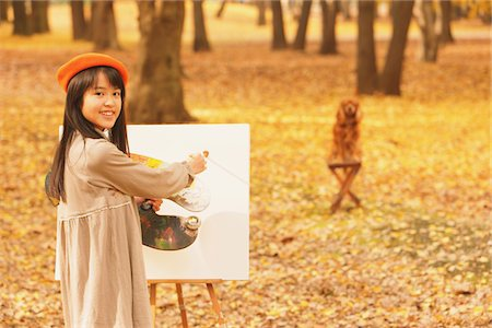Girl Painting In Autumn Foliage Stock Photo - Rights-Managed, Code: 859-03839380