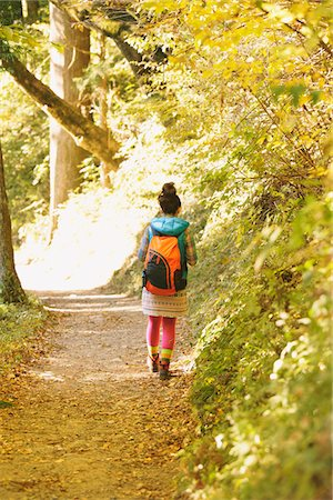 Young Woman Walking Alone On Path Through Forest Stock Photo - Rights-Managed, Code: 859-03839533