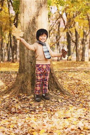 Boy Playing With Leaves Stock Photo - Rights-Managed, Code: 859-03839570