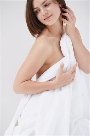 Beautiful Young Woman Covering Breast With Towel Stock Photo - Rights-Managed, Code: 859-03839982