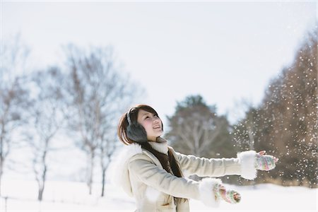 Teenage Girl Enjoying Snow Stock Photo - Rights-Managed, Code: 859-03860625