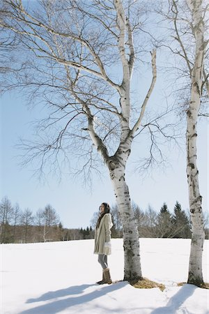 Teenage Girl In Snow Standing By Tree Stock Photo - Rights-Managed, Code: 859-03860658
