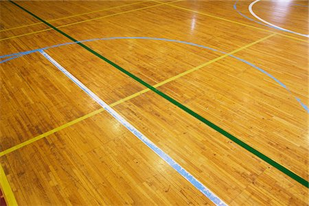 descriptive - Empty Basketball Court Stock Photo - Rights-Managed, Code: 859-03860738