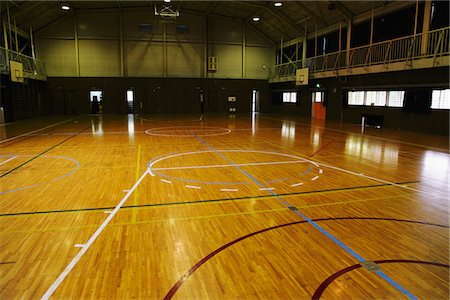 descriptive - Empty Basketball Court Stock Photo - Rights-Managed, Code: 859-03860739