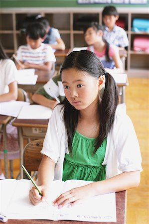 Japanese Girl Learning Stock Photo - Rights-Managed, Code: 859-03860793