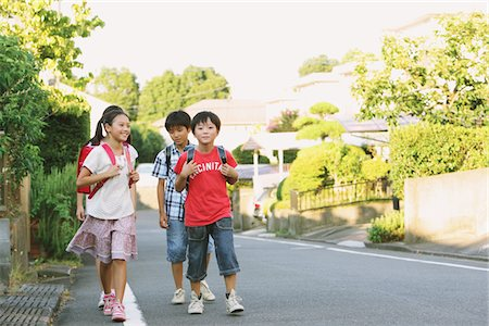 Children With School Bag Walking In Street Stock Photo - Rights-Managed, Code: 859-03860953