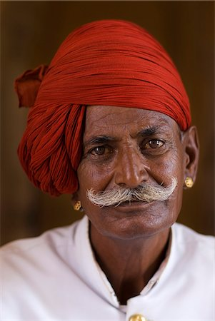 A palace guard in the City Palace,Jaipur,Rajasthan,India Stock Photo - Rights-Managed, Code: 851-02960494
