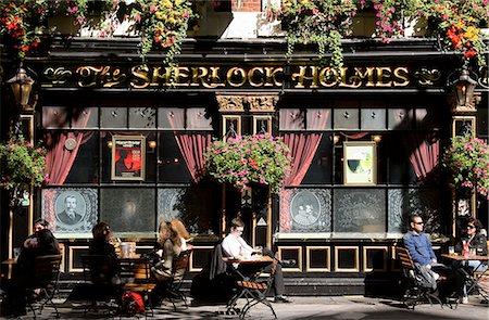 saloon - People sitting outside The Sherlock Holmes Pub,London,England,UK Stock Photo - Rights-Managed, Code: 851-02961598