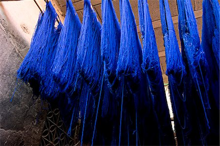 dyed - Blue dyed cloth hanging up to dry in souks of Marrakesh,Morocco Stock Photo - Rights-Managed, Code: 851-02962184