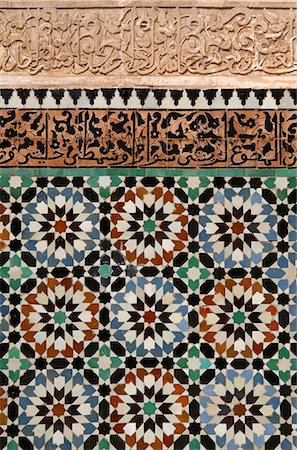 Decoration in Ben Youssef Medersa,detail,Marrakech (Marrakesh),Morocco Stock Photo - Rights-Managed, Code: 851-02962217