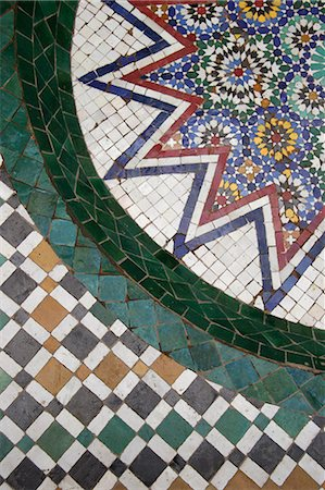 Mosaic tile floor,view from above,Marrakech (Marrakesh),Morocco Stock Photo - Rights-Managed, Code: 851-02962230