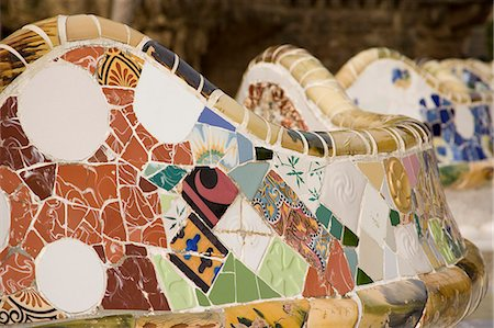 Close up of mosaic tiles,Park Guell,Barcelona,Spain Stock Photo - Rights-Managed, Code: 851-02963054
