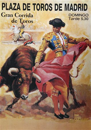 poster - Poster advertising bull fight,Madrid,Spain Stock Photo - Rights-Managed, Code: 851-02963204