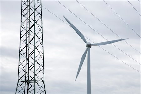 Windmill and overhead line tower Stock Photo - Rights-Managed, Code: 853-05523656