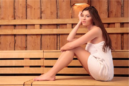Young woman in sauna Stock Photo - Rights-Managed, Code: 853-05523725