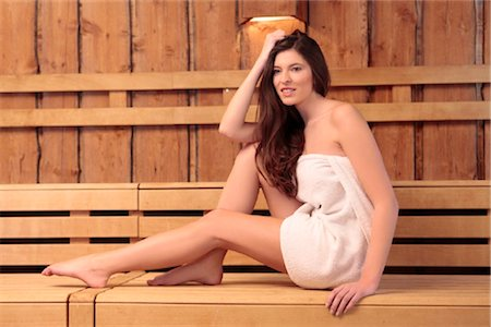 Young woman in sauna Stock Photo - Rights-Managed, Code: 853-05523726