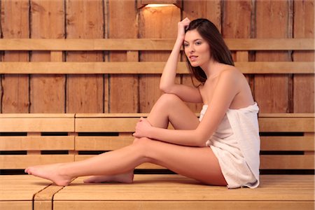Young woman in sauna Stock Photo - Rights-Managed, Code: 853-05523729