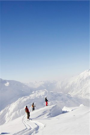 sports and snowboarding - Skier and snowboarder Stock Photo - Rights-Managed, Code: 853-05840906